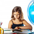 Back to school: finishing summer homework — Stock Photo