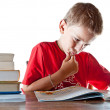 Stock Photo: Back to school: little boy and his homework