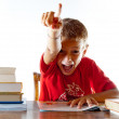 Stock Photo: Back to school: a little boy getting his homework right