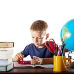 小男孩和他的家庭作业 — 图库照片