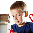 Little boy and his homework — Stock Photo