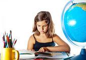 Back to school: finishing summer homework — Stock Photo