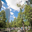 Jubilee Park at Canary Wharf, Docklands, London. Landscape - Stock Photo
