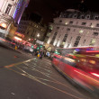 Night traffic, Piccadilly Circus, London - Stock Photo