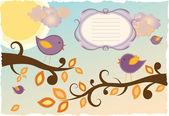 Pájaros en un árbol en otoño — Vector de stock