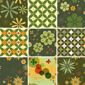 Set of nine seamless patterns in a retro style. You can repeat them endlessly. — Stock Vector