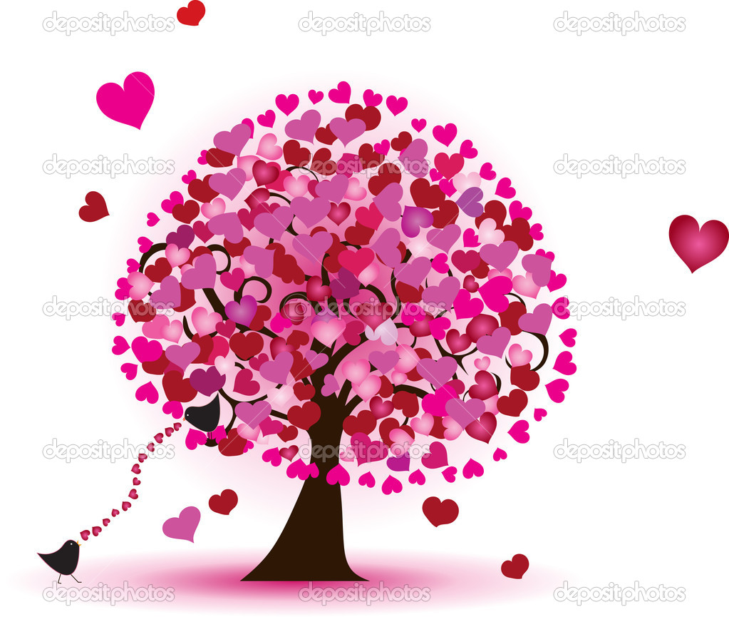 Tree of hearts with little birds.  Stock Vector #10727534