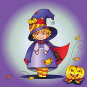 Cute little witch with cat — Stock Vector
