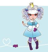 Sneeuw fee prinses met wanten (Fairy serie 2) — Stockvector