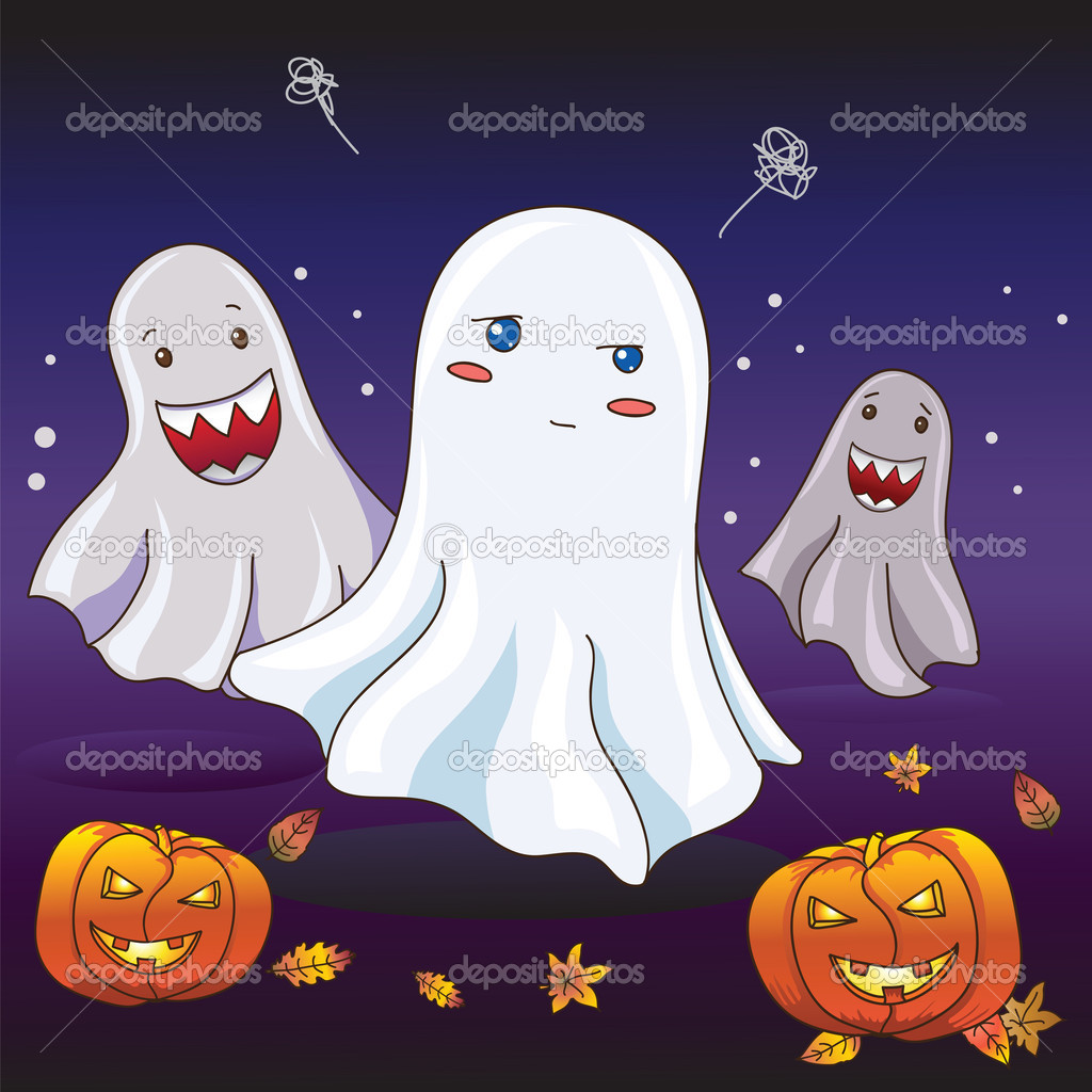 Shy cute ghost at Halloween — Stock Vector #10269283