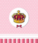Princess was born! – cute pink crown card — Stock Vector