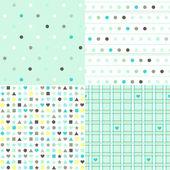 Set di 4 pattern senza giunte di primavera con cuori di menta — Vettoriale Stock