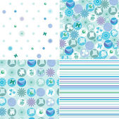 Set of green and blue eco motif patterns — Stock Vector