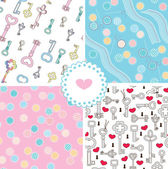 Set of tender pastel seamless patterns – keys and sews — Stock Vector