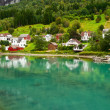 Stock Photo: Town Stryn on river bank