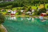 Town Stryn on river bank — Stock Photo