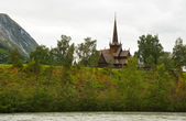Lom Stave Church (stavkyrkje) — Stock Photo