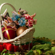 Decorative Easter basket with bow and eggs — Stock Photo #10176051