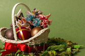Decorative Easter basket with bow and eggs — Stock Photo