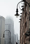 Downtown in fog — Stock Photo