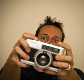 Man taking a picture — Stock Photo