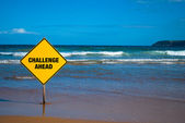 Challenge sign on the beach — Stock Photo