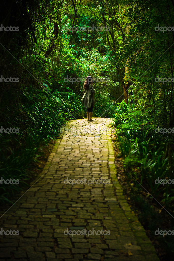 A young woman stops in the path in the middle of a forest — Stock Photo #10264401