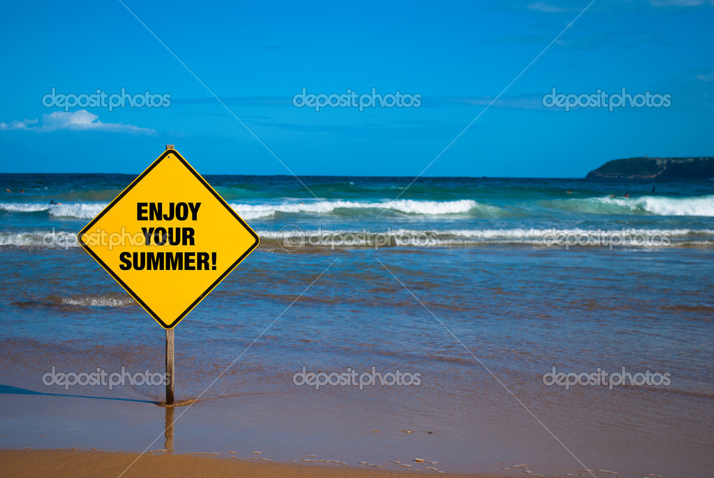 Advise for swimers to enjoy the summer sign on the beach. — Stock Photo #10264702