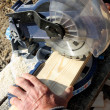 Circular Saw Cutting a Wood Plank — Stock Photo