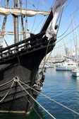 Tall Ship in Barcelona's port on Sunny Morning — Stock Photo