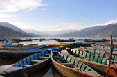 Boats Pokhara lake — Stock Photo