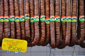 Sausages in the market, Budapest — Stock Photo