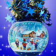 Christmas Ball  on Blue Background — Zdjęcie stockowe