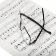 Sheet Music And Glasses - Stock Photo
