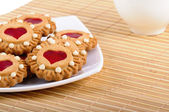 Cookies Valentines And Cup Of Tea — Stock Photo