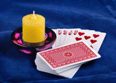Playing Cards And Candle — Stock Photo