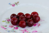 Cherries On a Plate — Stock Photo