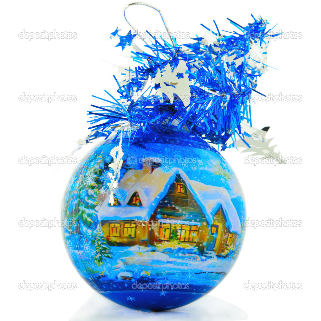 Christmas ball with the drawn small house in a snow and decorated by a brilliant tape  Stock Photo #10275696