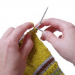 Knitting a sock — Stock Photo