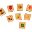 Wooden cubes with fruits — Stock Photo