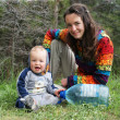 Mother and baby on the nature — Stock Photo
