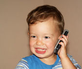 Baby is talking phone — Stock Photo