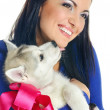 Stock Photo: Woman and puppy