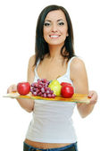 Girl with fruits — Stock Photo
