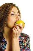 Biting apple — Stock Photo