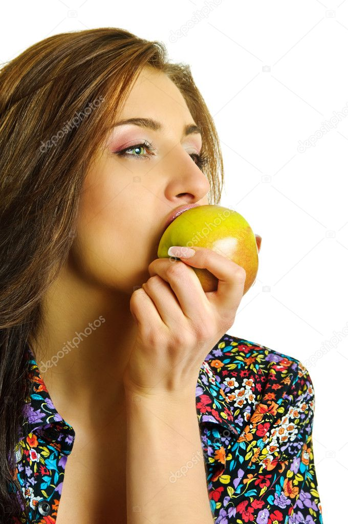 Beauty girl biting apple on white background — Stock Photo #10639893