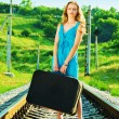 Alone on railway - Stock Photo
