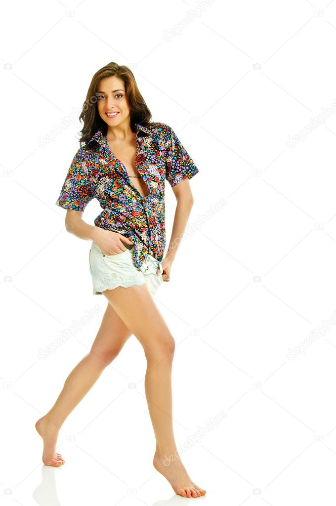 Barefooted beauty girl in summer clothes on white — Stock Photo #10640198