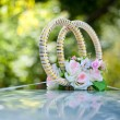 Decorating a wedding car - wedding rings — Stock Photo