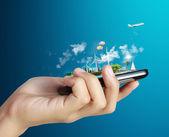 Dotyková obrazovka pohyblivý telefon — Stock fotografie